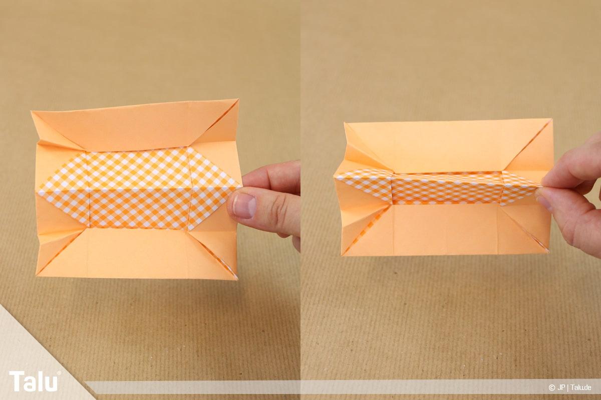 Haus aus Papier basteln, Papierhaus falten, Quadrat zur Hälfte falten