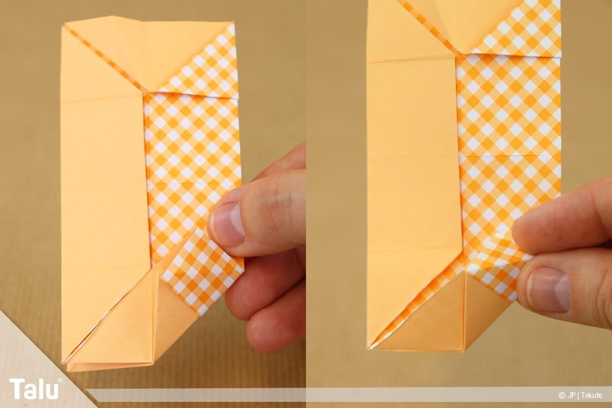 Haus aus Papier basteln, Papierhaus falten, Lasche nach oben falten