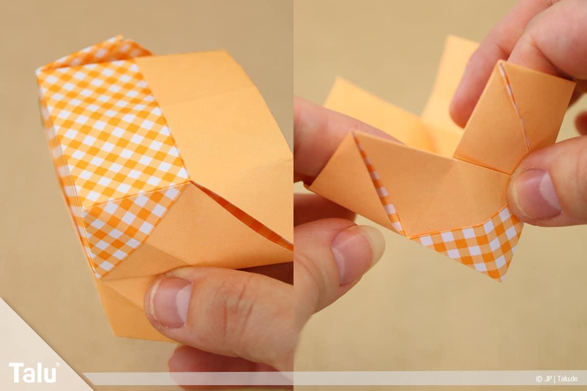 Haus aus Papier basteln, Papierhaus falten, Rechteck vorsichtig öffnen