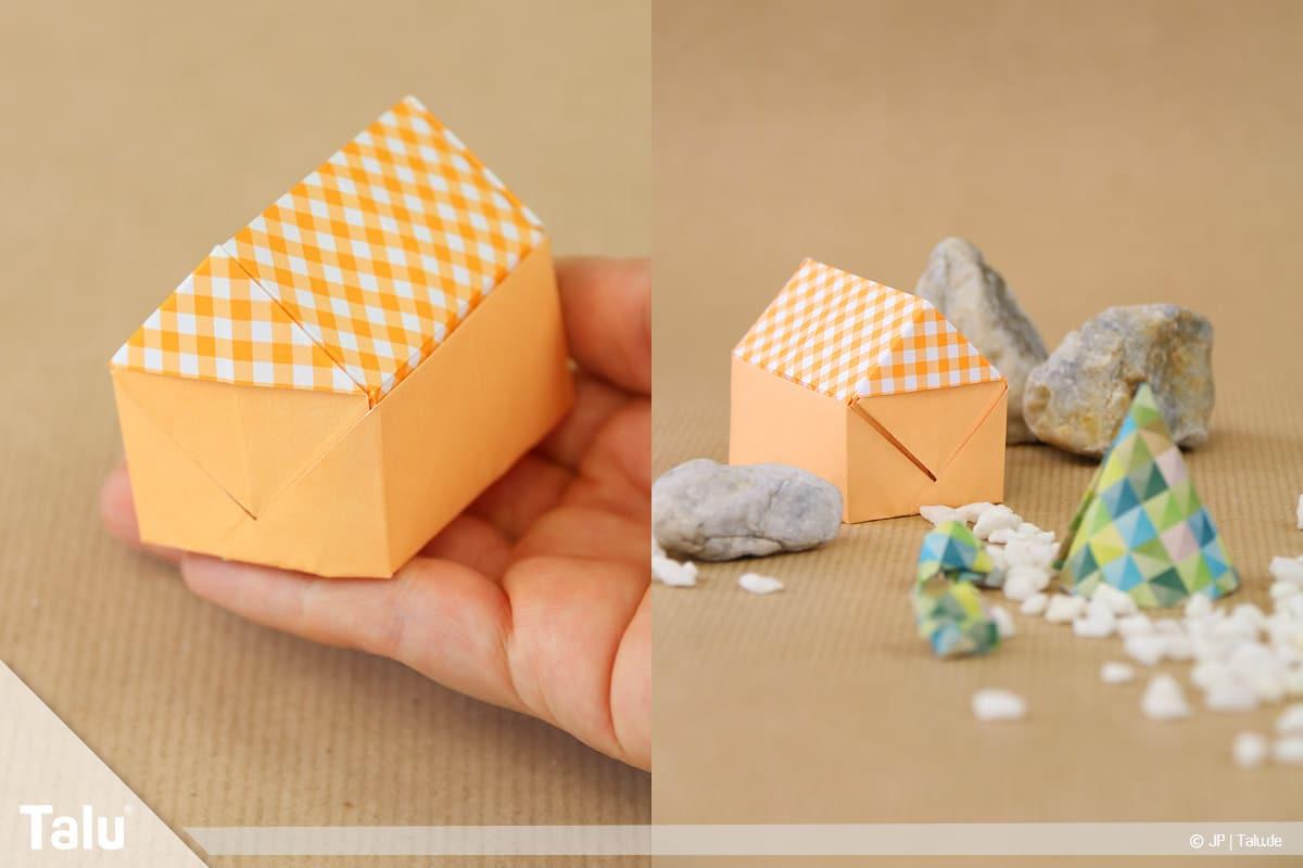 Haus aus Papier basteln, Papierhaus falten, fertig gefaltetes Papierhaus