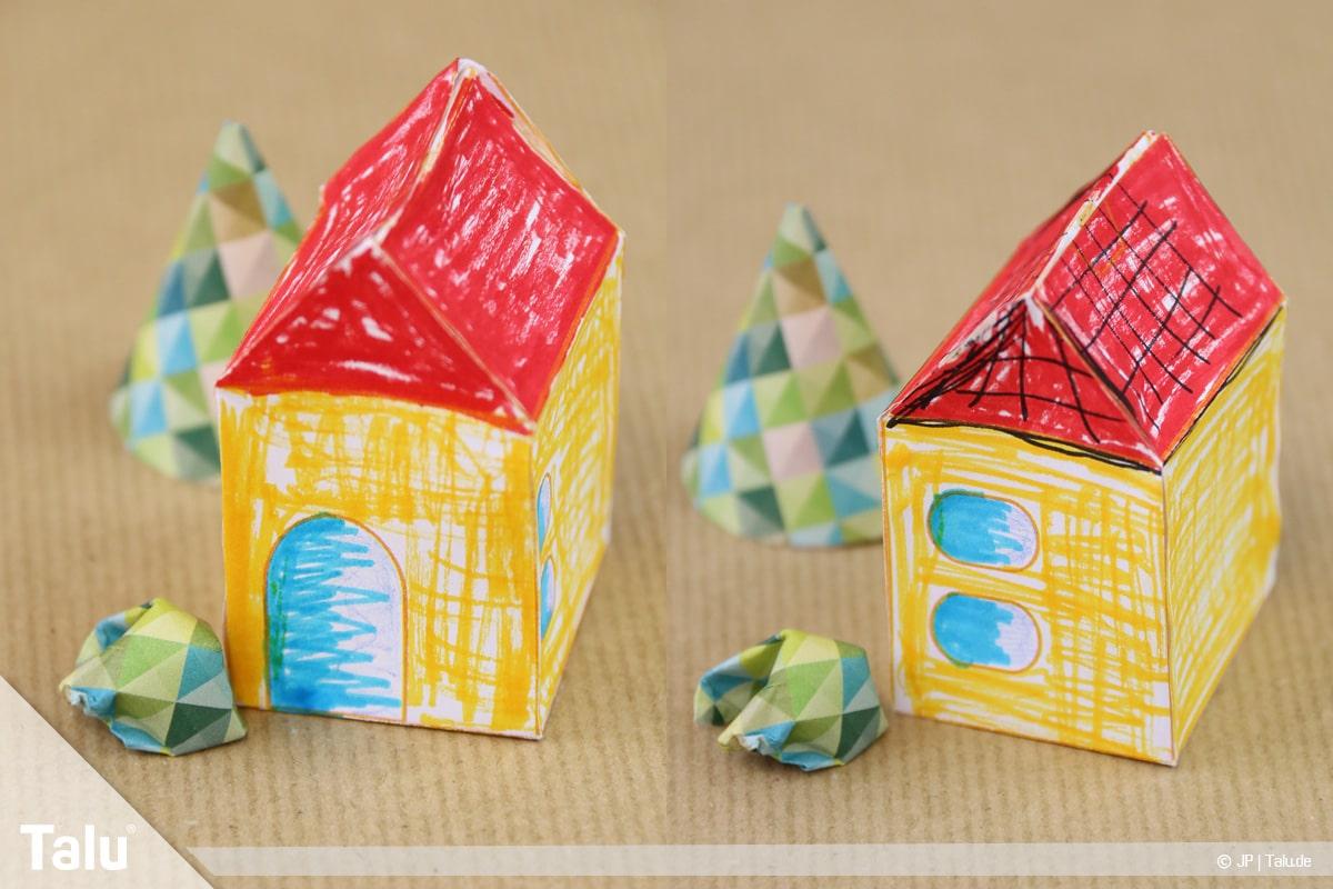 Haus aus Papier basteln, Papierhaus falten, bunt bemaltes Papierhaus