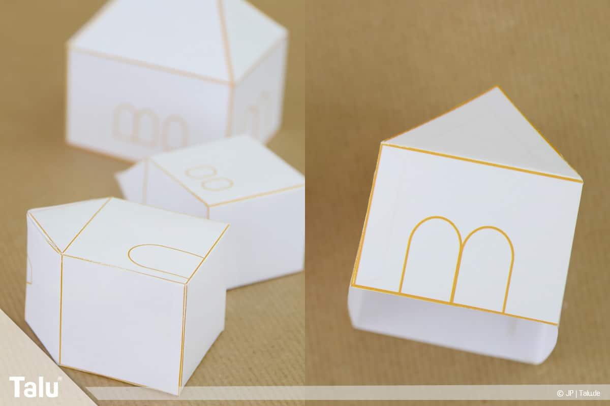 Haus aus Papier basteln, Papierhaus falten, fertige Druckvorlagen-Häuser