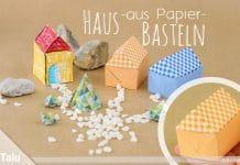 Haus aus Papier basteln, Anleitung + Vorlage   Papierhaus falten