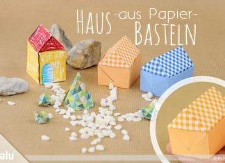 Haus aus Papier basteln, Anleitung + Vorlage | Papierhaus falten