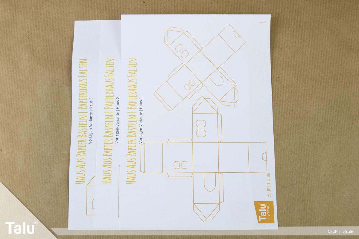 Haus aus Papier basteln, Papierhaus falten, kostenlose Talu-Bastelvorlagen