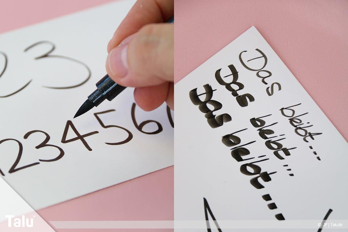 Kalligraphie lernen, Anleitung für Anfänger, Zahlen und Worte mit Kalligraphie-Filzstift üben