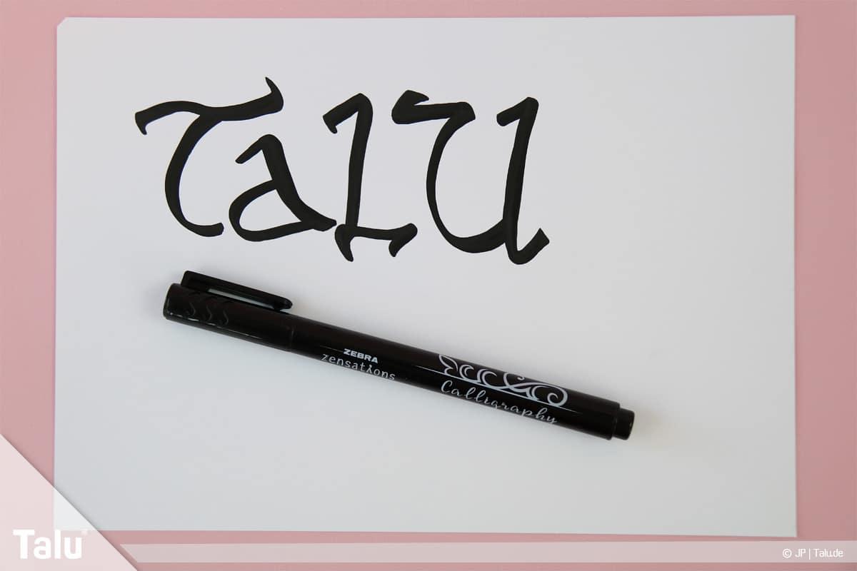 Kalligraphie lernen, Anleitung für Anfänger, Buchstaben und Wörter schreiben üben
