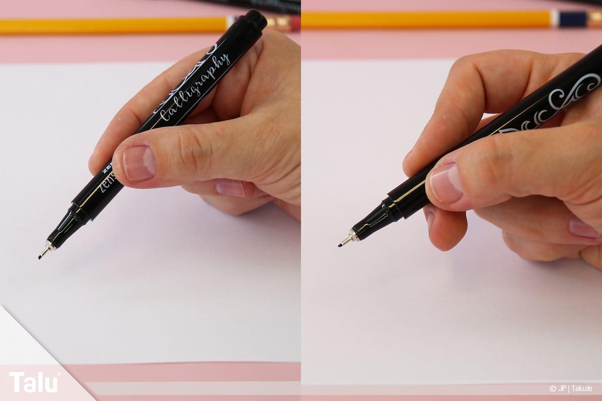 Kalligraphie lernen, Anleitung für Anfänger, richtige Handhaltung des Kalligraphie-Filzstiftes