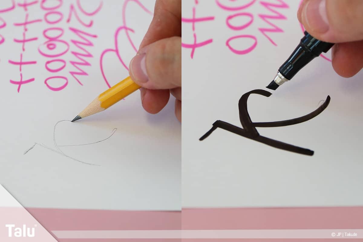 Kalligraphie lernen, Anleitung für Anfänger, Buchstaben und Worte mit Bleistift vorzeichnen
