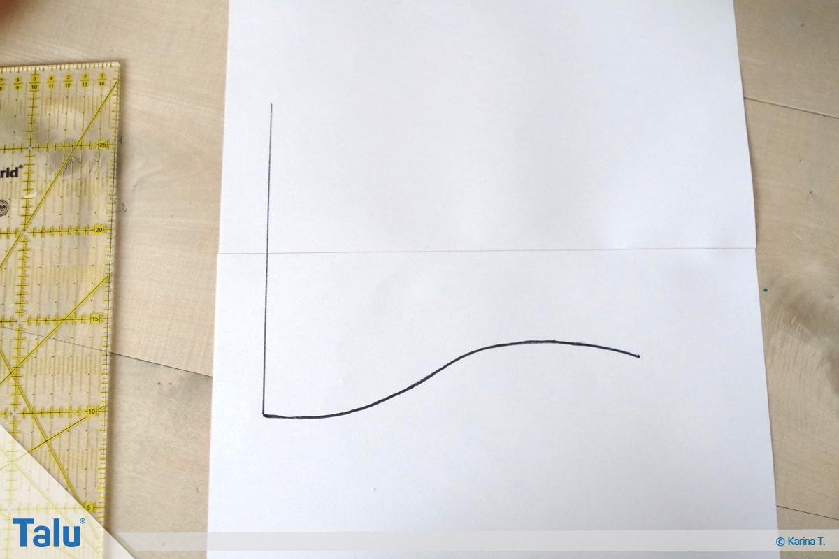 Kapuze nähen und annähen, Schnittmuster, vertikale Linie zeichnen