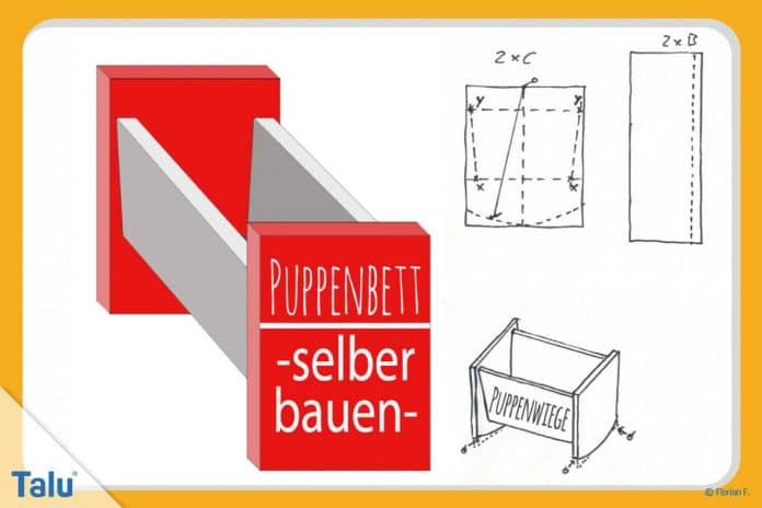 Puppenbett selber bauen, Anleitung und PDF für eine Puppenwiege