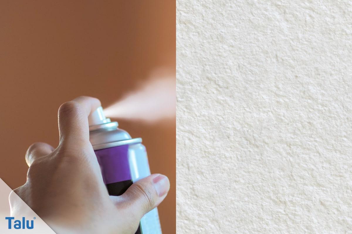 Haarsprayflecken, Haarspray entfernen von der Tapete