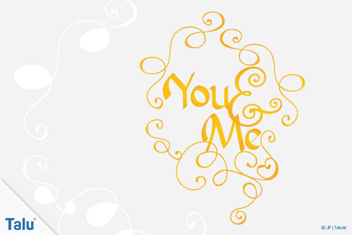 Handlettering, Sprüche für jede Gelegenheit, Spruch You and Me
