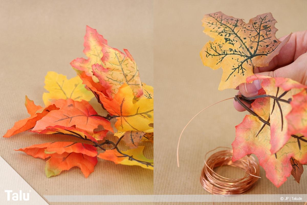 Herbstkranz selber basteln, Anleitung, bunter Kranz, Beginn