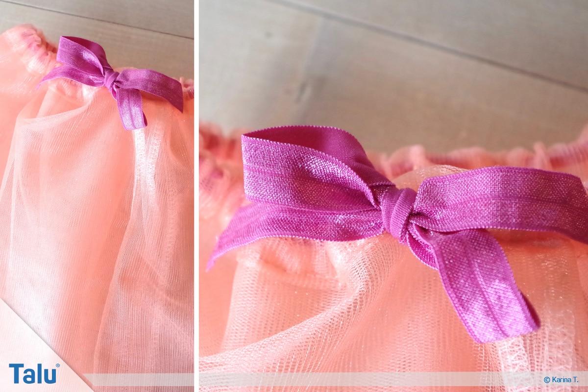 Tutu-Kleid/Rock selber machen, Anleitung, Gummiband zur Schleife gebunden