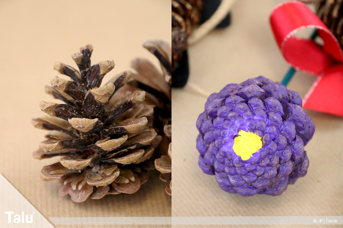 Basteln mit Tannenzapfen, kreative Ideen, Tannenzapfen-Blumen fertigen