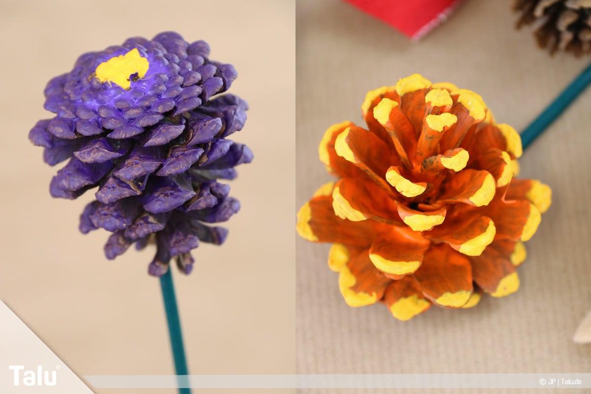 Basteln mit Tannenzapfen, kreative Ideen, verschiedene Tannenzapfen-Blumen