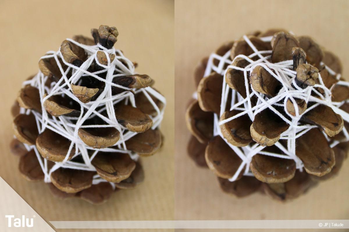Basteln mit Tannenzapfen, kreative Ideen, Tannenzapfen-Deko, mit Garn umwickelte Zapfen