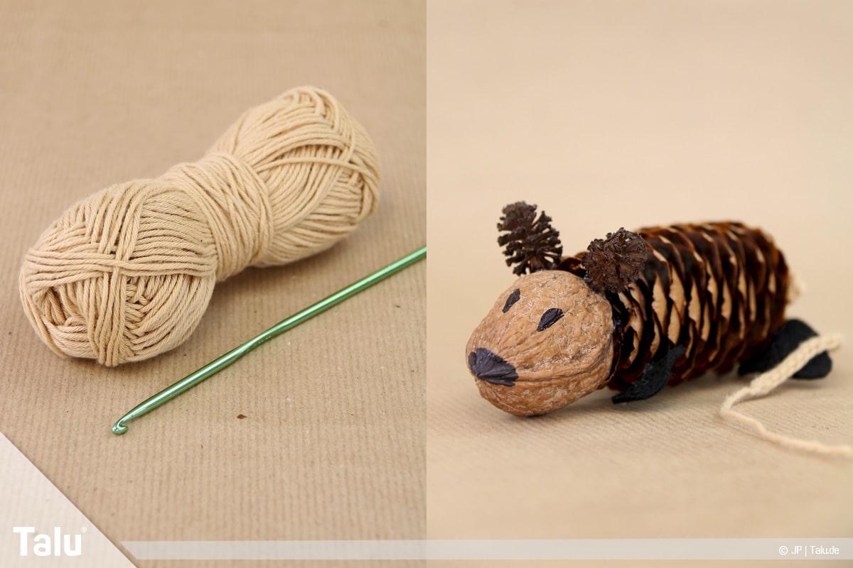Basteln mit Tannenzapfen, kreative Ideen, Zapfenmäuse, Mauseschwanz aus Luftmaschenkette häkeln