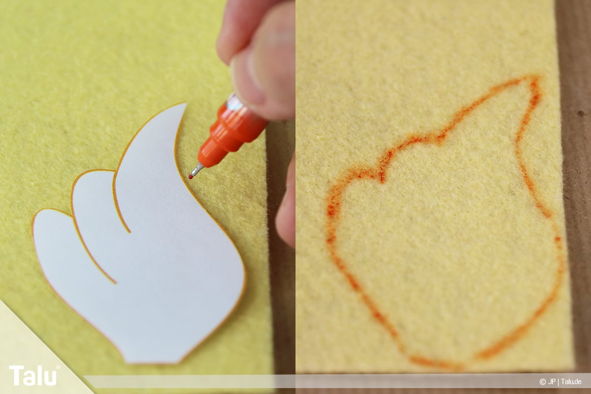 Basteln mit Tannenzapfen, kreative Ideen, Regenbogenfeen, Flügelform auf Filz übertragen