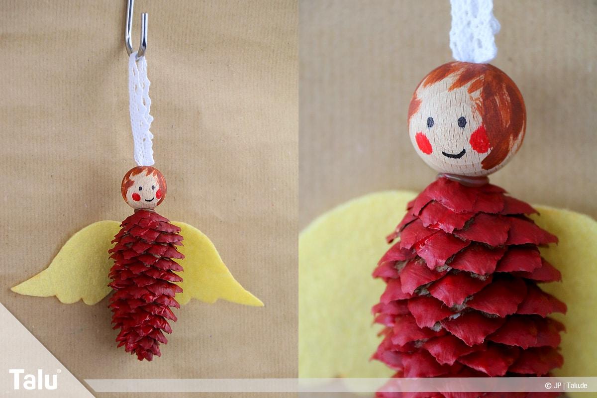 Basteln mit Tannenzapfen, kreative Ideen, fertige Regenbogenfee