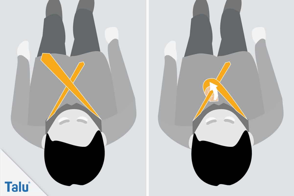 Doppelter Windsor, Krawattenknoten binden, zweiter Schritt