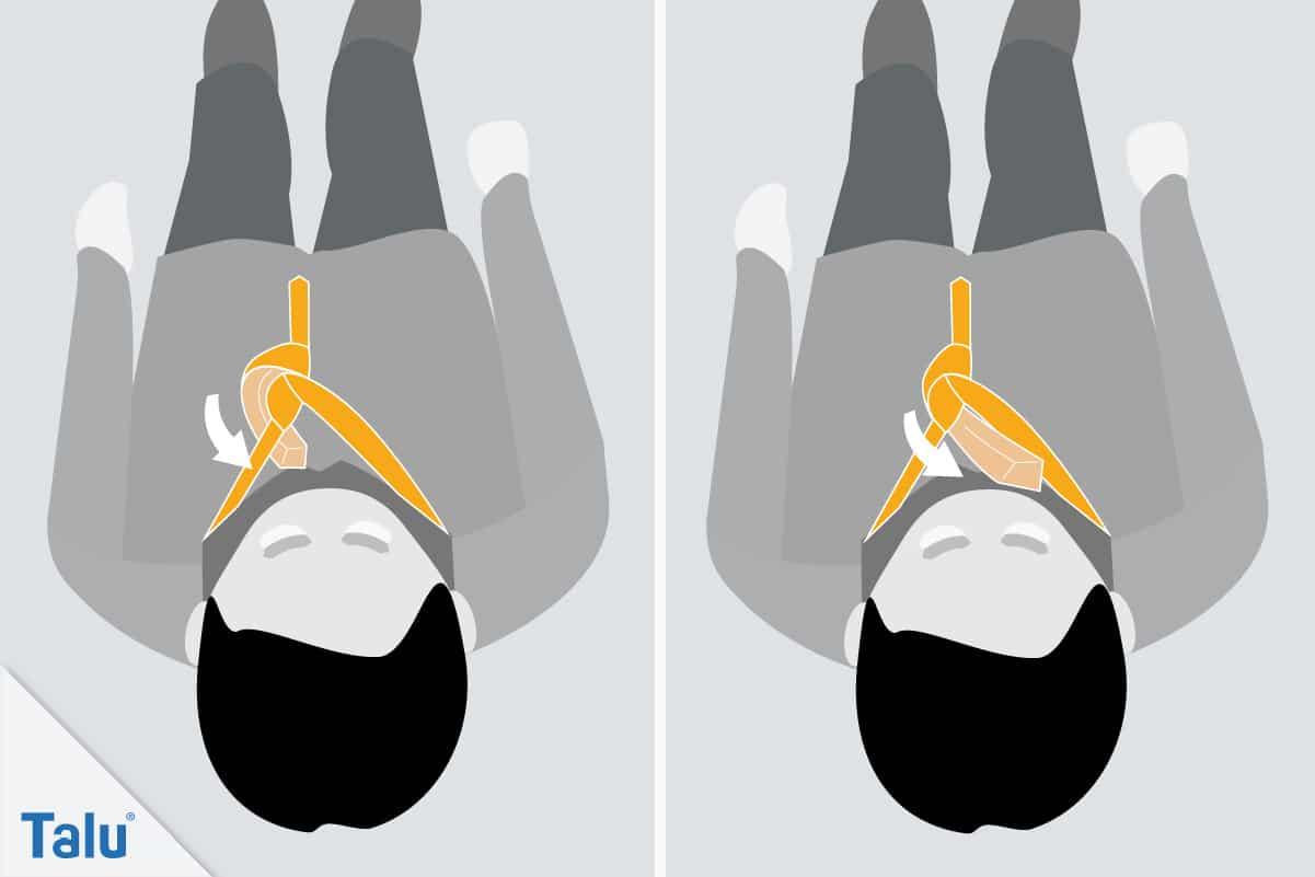 Doppelter Windsor, Krawattenknoten binden, sechster Schritt