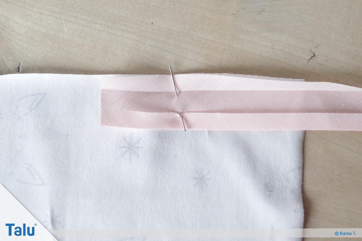 Einfassungen nähen, Versäubern von Ecken & Kanten, Außenecken mit Schrägband einfassen