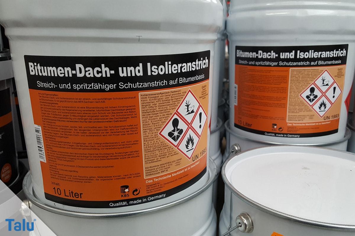 Flachdachsanierung selber machen, Flachdachabdichtung, Bitumen-Dach-Schutzanstrich