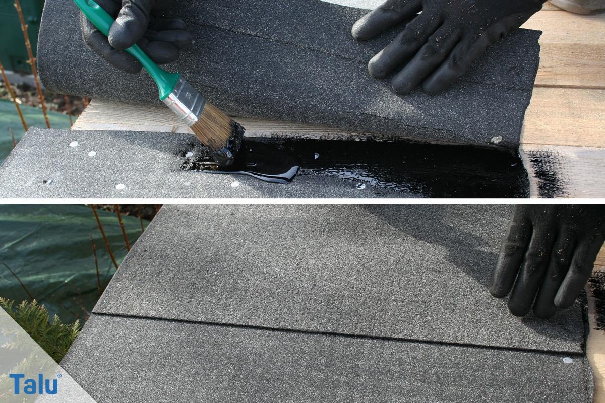 Flachdachsanierung selber machen, Flachdachabdichtung, Bitumenbahnen zurechtschneiden