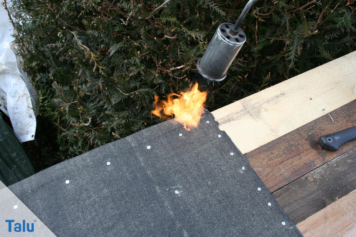 Flachdachsanierung selber machen, Flachdachabdichtung, Bitumenbahnen verschweißen