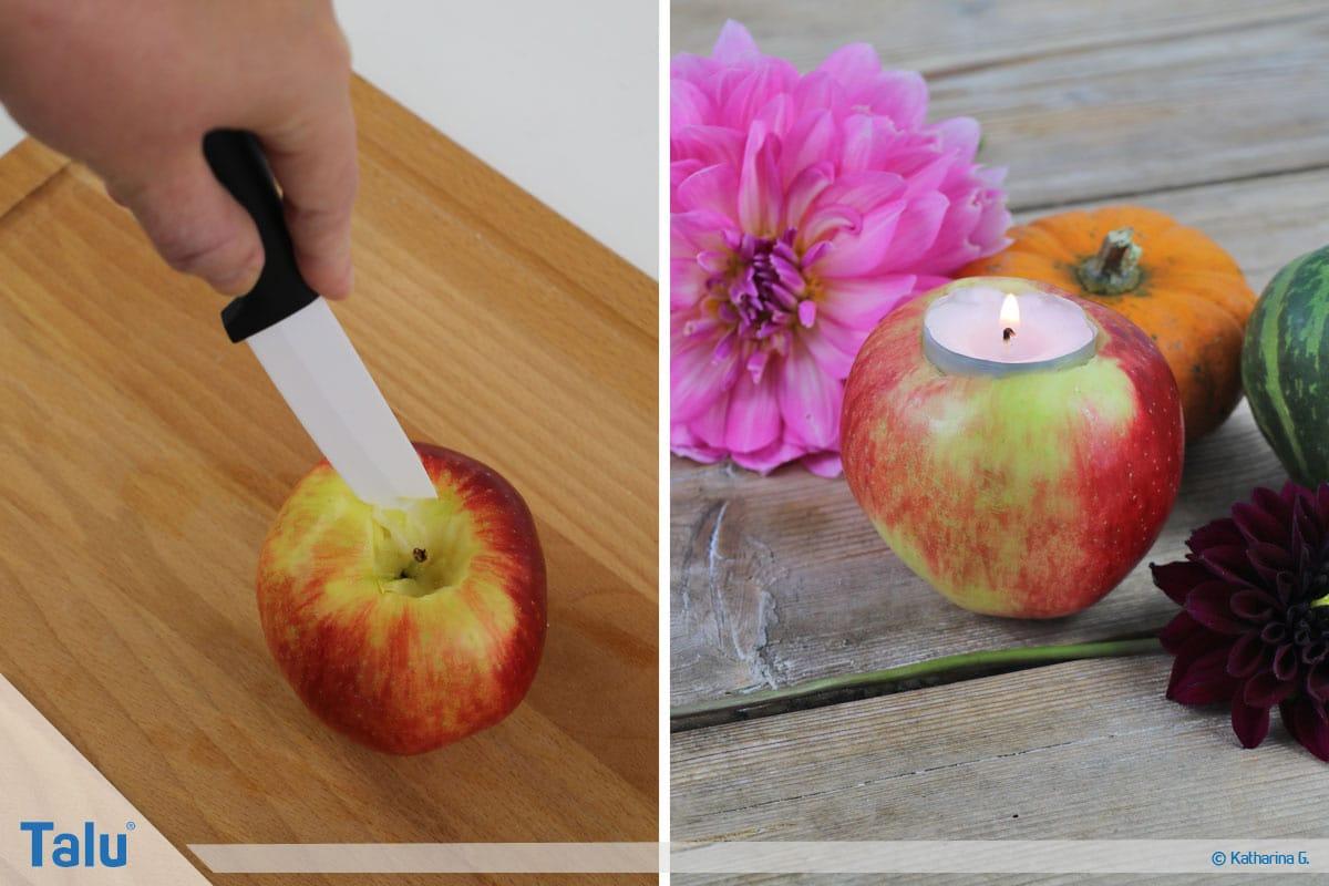 Herbst-Tischdeko selber machen, aus Apfel Teelichtöffnung herausschneiden