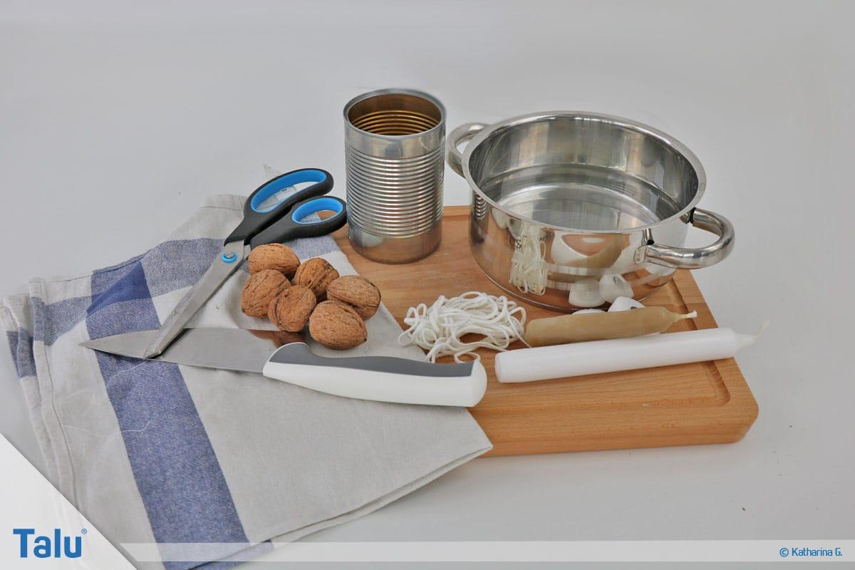 Herbst-Tischdeko selber machen, Walnussschalen-Mini-Teelichter