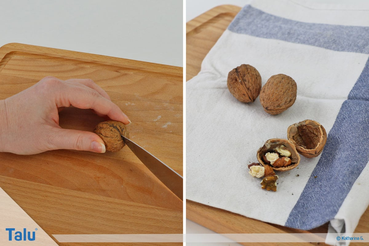 Herbst-Tischdeko selber machen, Walnussschalen-Mini-Teelichter, Walnüsse öffnen