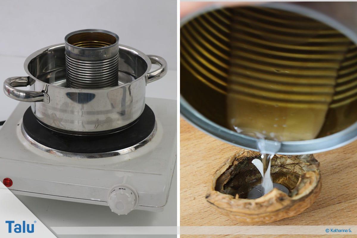 Herbst-Tischdeko selber machen, Walnussschalen-Mini-Teelichter, Wachs einfüllen