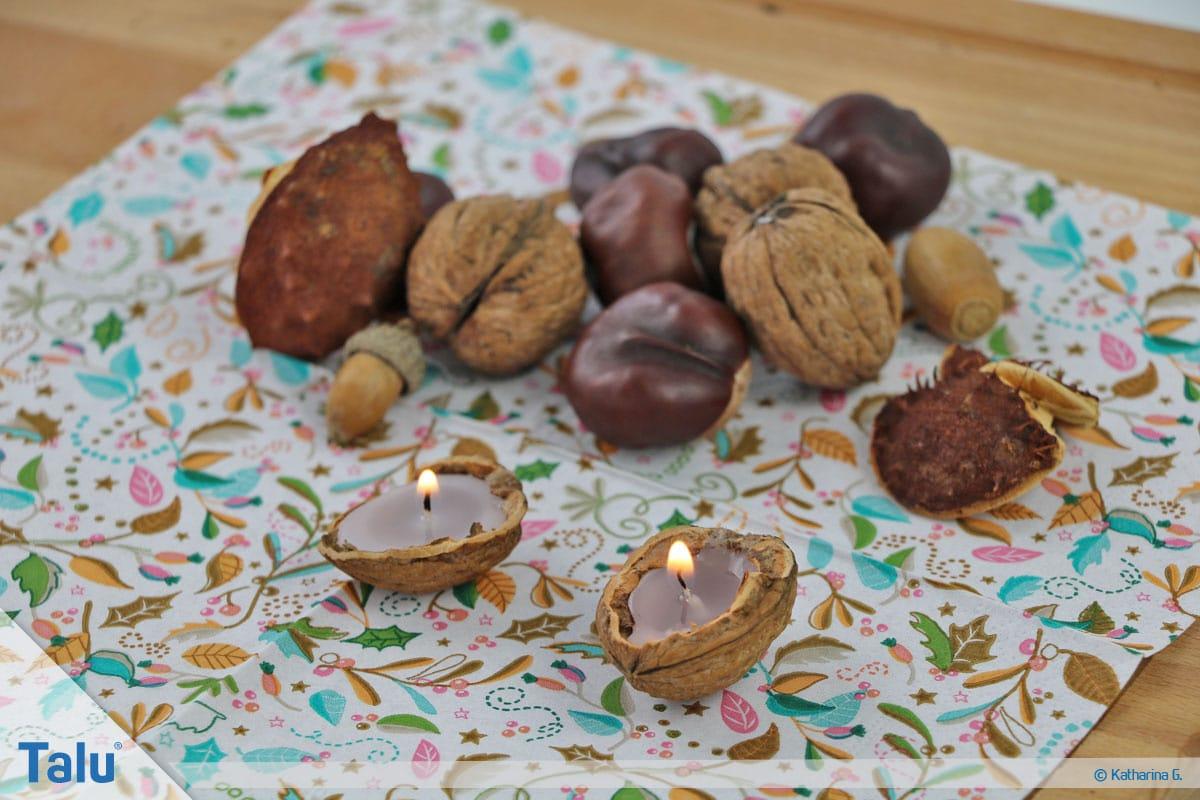 Herbst-Tischdeko selber machen, fertige Walnussschalen-Mini-Teelichter