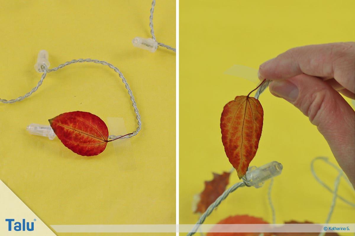 Herbst-Tischdeko selber machen, Lichterkette mit Herbstlaub, Blätter befestigen