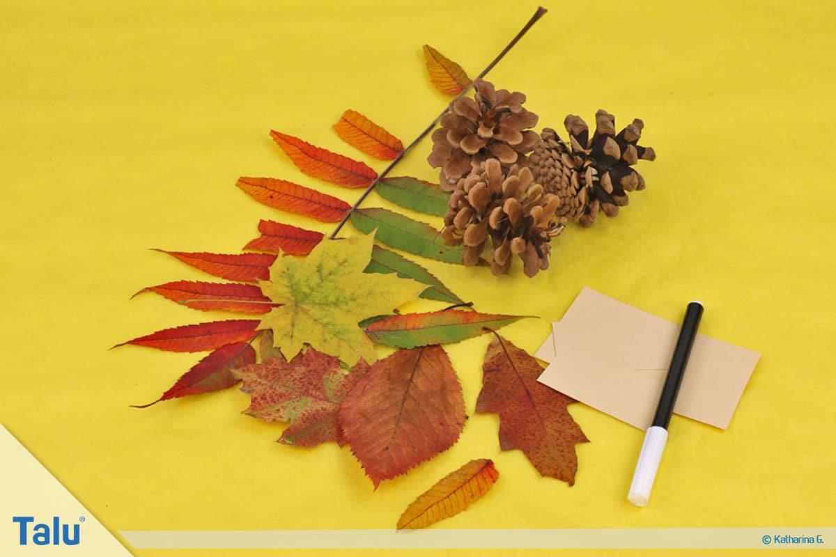Herbst-Tischdeko selber machen, herbstliche Platzkarten