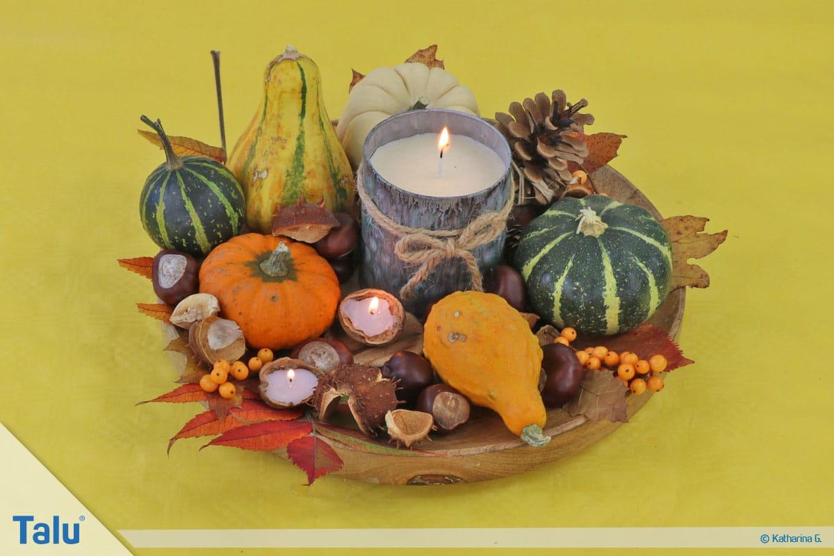 Herbst-Tischdeko selber machen, Herbstteller als Herbstdeko