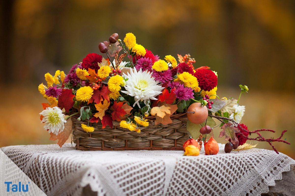 Herbstgestecke selber machen, Ideen, Gestaltungsmöglichkeit eines Herbstgestecks