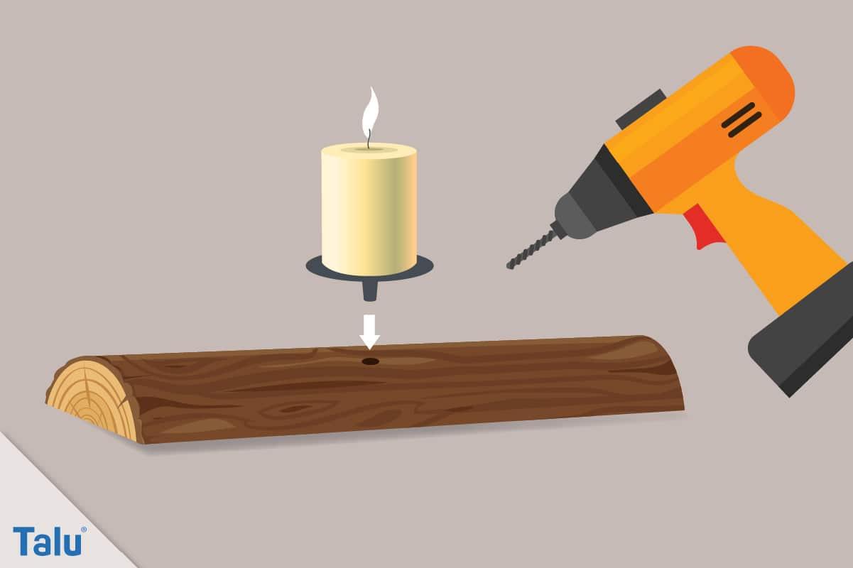 Herbstgestecke selber machen, Ideen, Baumrinde mit Kerzenhalter versehen