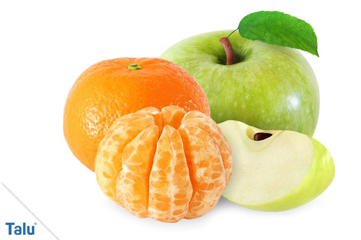 Käsegeruch in der Wohnung, Apfel und Orange mit ihrem Fruchtaroma