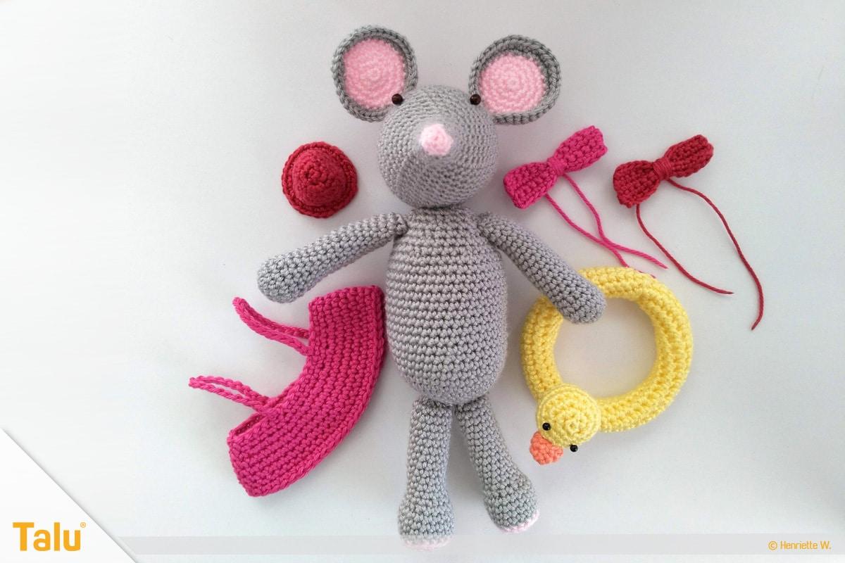 Maus häkeln, Amigurumi-Häkelmaus, fertige Maus mit Accessoires