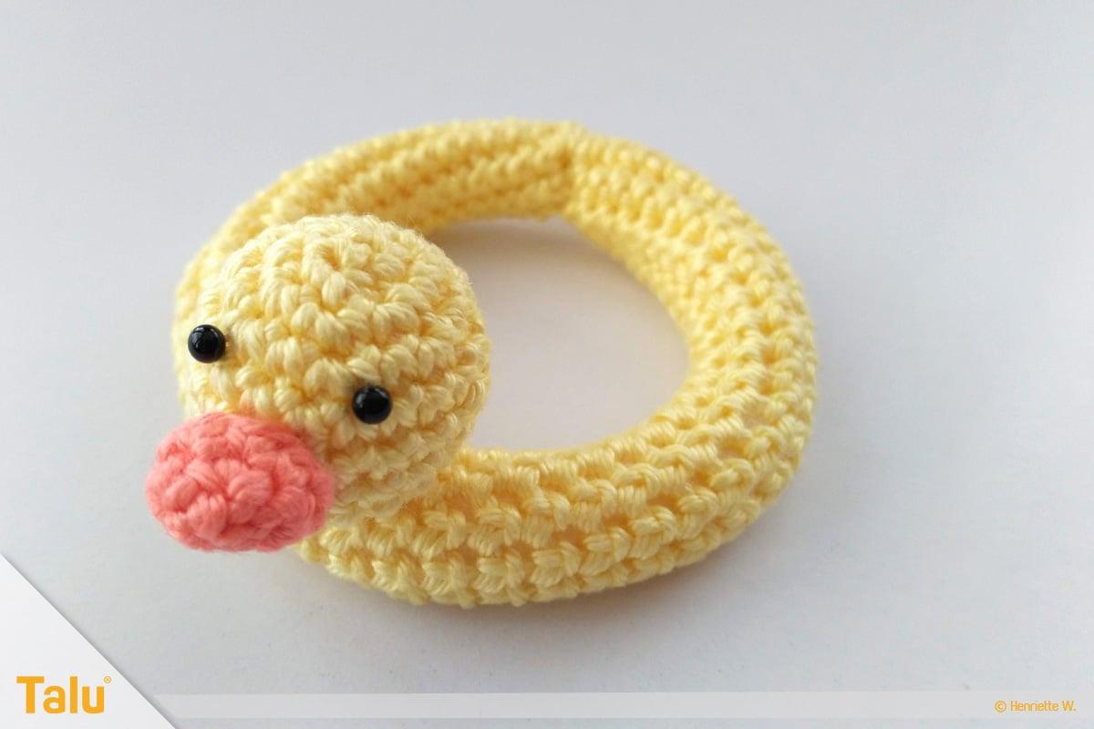 Maus häkeln, Amigurumi-Häkelmaus, gehäkelter Enten-Schwimmring
