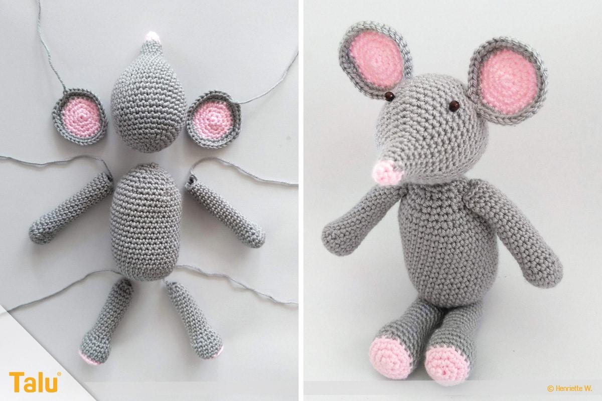 Maus häkeln, Amigurumi-Häkelmaus, gehäkelte Maus plus Einzelteile