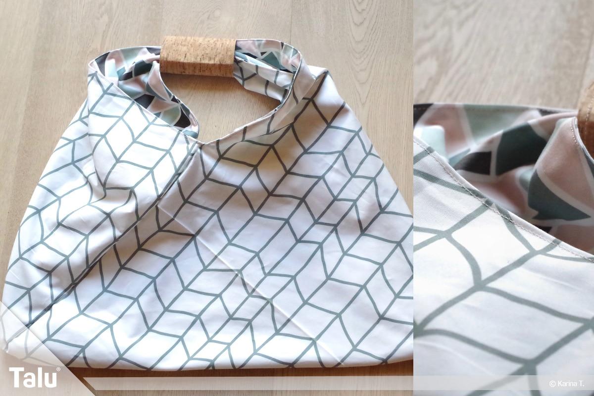 Origami Beutel nähen, Anleitung Origami-Wendetasche, fertiger Origami-Wendebeutel