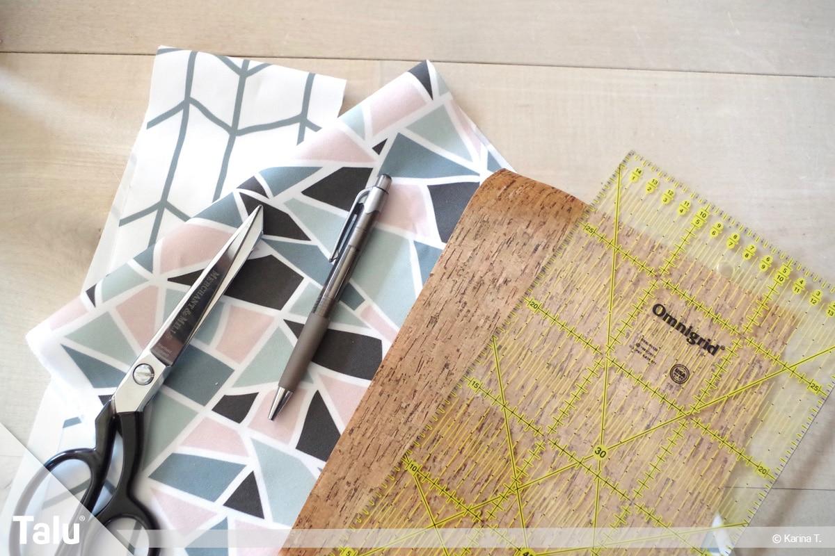 Origami Beutel nähen, Anleitung Origami-Wendetasche, Materialien und Utensilien