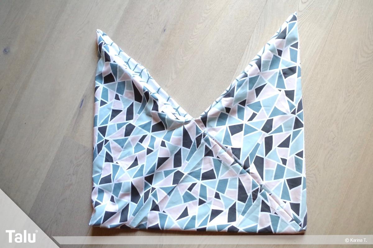 Origami Beutel nähen, Anleitung Origami-Wendetasche, noch einmal um Öffnung herumnähen