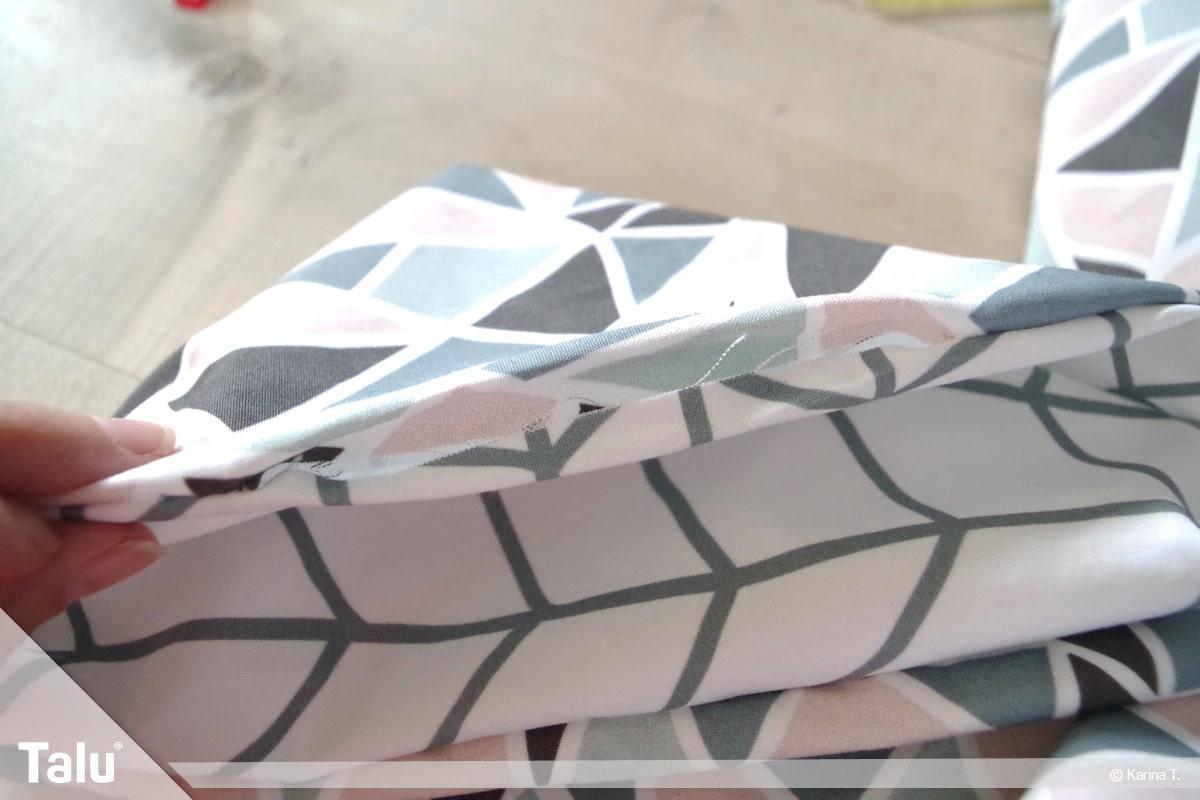 Origami Beutel nähen, Anleitung Origami-Wendetasche, Stoffseiten der Wendeöffnung nach innen klappen
