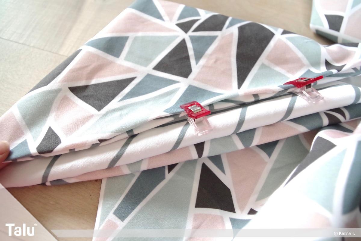 Origami Beutel nähen, Anleitung Origami-Wendetasche, Öffnung mit Clips fixieren